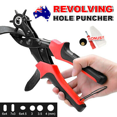 AU Round Flat Oval 3 In 1 Revolving Leather Punch Tools Belt Eyelet Hole Puncher