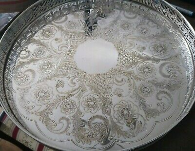 Antique Silver Plated Viners Sheffield Round Serving Tray 12""