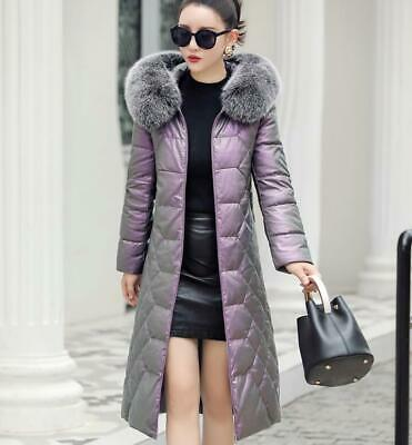 Womens Long Fox Fur Collar Hooded Real Leather Duck Down Jacket Thicken Warm New