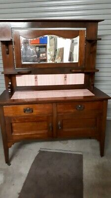 Edwardian Oak  Washstand With  Original Tiles/Mirror/Fittings-Excellent Piece