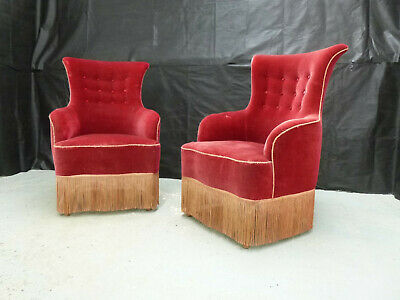 EB580 Pair of Maroon Velour High-Backed Lounge Chairs Vintage Danish Retro