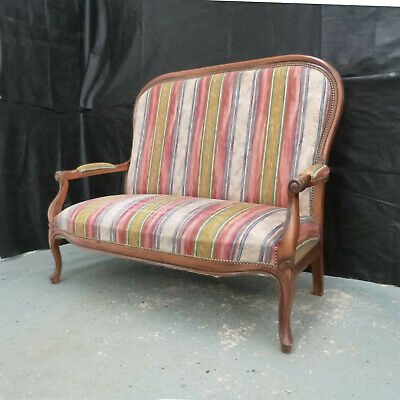 EB583 Stained Beech & Striped Fabric High-Backed Sofa Danish Vintage Retro