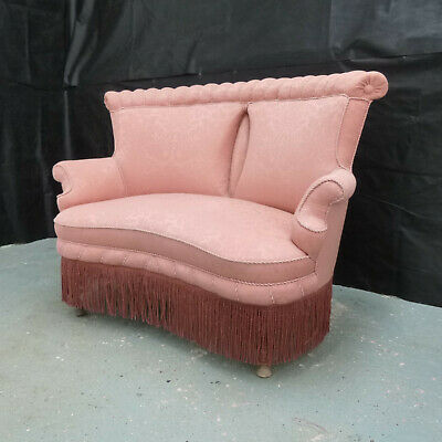 EB584 Pink Patterened Fabric High-Backed Two-Seater Sofa Danish Vintage Retro