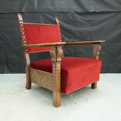 EB5386 Carved Oak Lounge Chair Vintage Retro Danish Interiors Lounge Seating