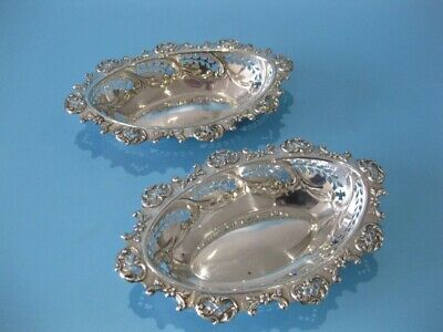 Beautiful Pair of Antique Silver Plated Victorian Hand-Pierced Bon Bon Dishes