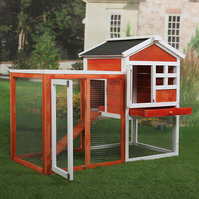 Wooden Rabbit Hutch Animal Pet Cage w/ Run Chicken Coop Hen House 2 Tiers