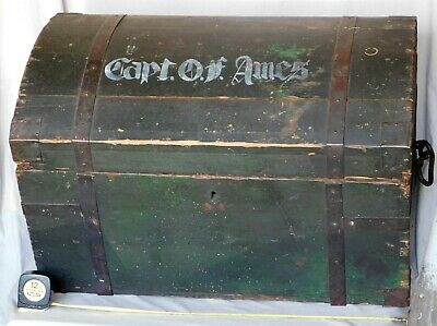 Antique dome top trunk decorated 19th century Captain Ames soldier iron sailor