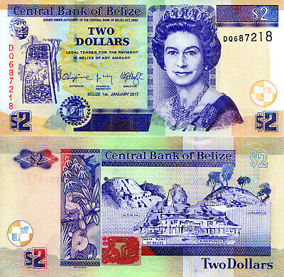 BELIZE 2 Dollars Banknote World Paper Money UNC Currency Pick p-New 2017 Bill