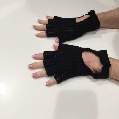Two Pair Fingerless  Knit Mittens Gloves Handwarmers  Black