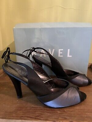 Ravel Riva Shoes Black & Silver Grey Leather/Fabric Size 6/39 Excellent With Box