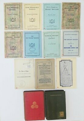 13 Cricket History Books most with MCC Library Stamp earliest 1888