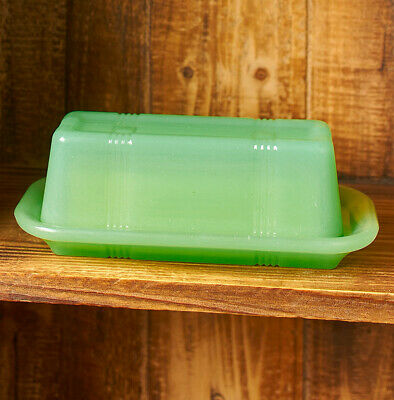New Jade Green Glass Butter Dish Vintage Country Kitchen Farmhouse Decor