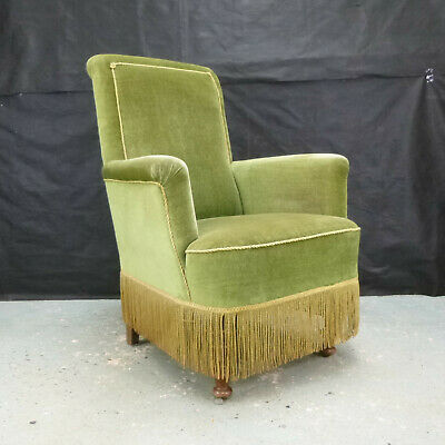 EB618 Danish Green Velour High-Backed Lounge Chair Retro Vintage Seating