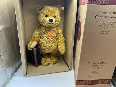 Steiff Tier Teddy Bär 665318 Passport Teddy Bär 33 cm. Top Zustand