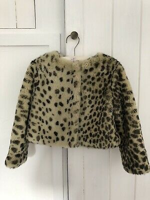 Wild & Gorgeous Girls Coat Jacket Leopard Print Faux Fur Age 4-5