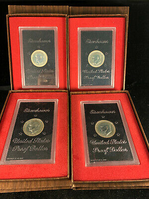 Four 4 1974 US Proof Brown Ike Silver Dollar  Brown Boxes