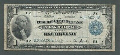 1918 US $1 One Dollar Federal Reserve Note - New York, NY - Blue Seal - S241