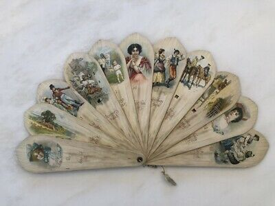 c 1900 Large Beautiful VALENTINE Card VICTORIAN Folding FAN ANTIQUE 18-inch