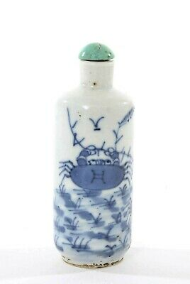 1900's Chinese Blue & White Porcelain Snuff Bottle with Crabs