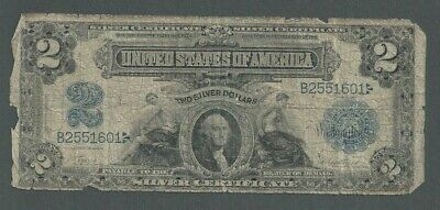 """1899 United States $2 Two Dollar Silver Certificate """"Porthole"""" Note - S251"""