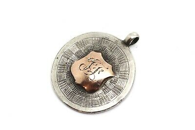 A Nice Antique Art Deco C1931 Gold & Silver 925 Initialled Fob Pendant #21523