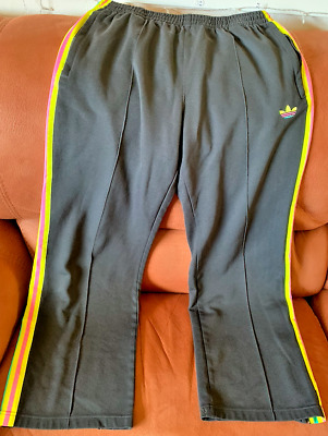 Adidas Track Suit Bottoms with Pink/Yellow/Green stripes and Logo