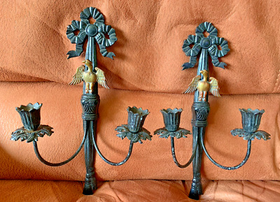 PAIR Vintage Antique Brass Bronze French Two Arm Lamp Wall Sconces