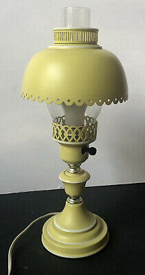 RARE! Vintage TOLE White *YELLOW Metal LAMP Desk Toleware GLASS Table Sweet