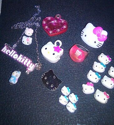 Sanrio HELLO KITTY 20 misc. Items- rings, watch, buttons, etc.