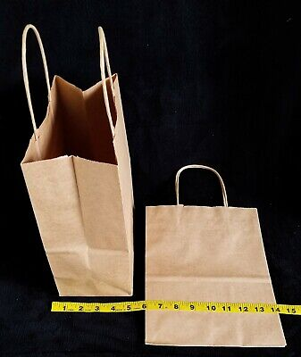 "Kraft Bags, 10.5 X 8"" Gift Shopping Bags, Square Bottom, Twisted Handle, 50pc."