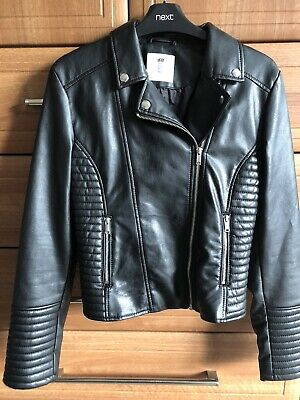 H&M Girls Black Biker style faux Leather jacket Age 13-14 Years