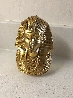 "King Tut Statue Bust - Idol Gold Mask Vintage 5""x4"" Heavy"