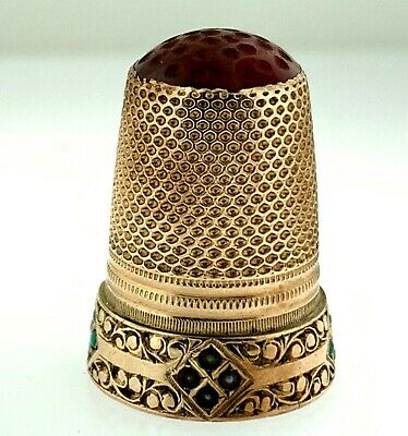 Vintage Swedish Floral Etched 14k Gold Carved Carnelian~Pearls+Turquoise Thimble