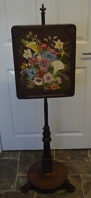 Antique 19th century Rosewood Pole Fire Screen