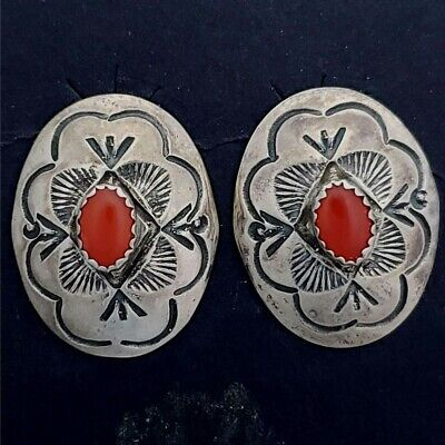 Vintage Navajo Larry Sandoval Sterling Silver Coral Clip on Earrings GS-SCE1