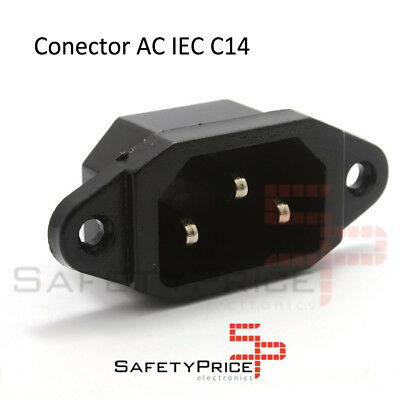 Connector Power AC IEC C14 Chassis Male 10A 250V 3 Pins Black Sp