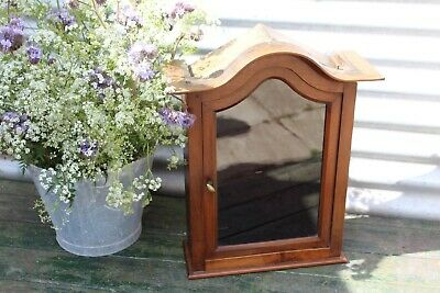 Antique French Mahogany Display Cabinet Reliquary Niche Religious Altar Shrine