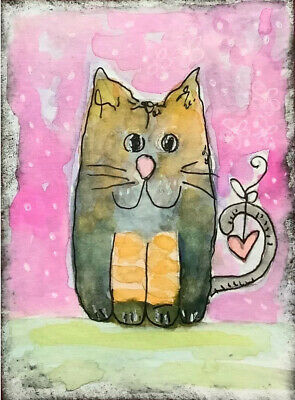"""Artist Trading Cards ACEO Cards Original Painting Cat 1  2.5"""" X 3.5"""" Art Card"""
