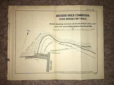 1893 Map MO River Osage Div 1st Reach Erosion of Bank Behind Dike 13B Harlan Isl