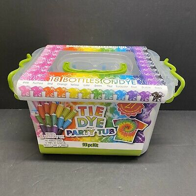 Create Basics Tie Dye Kit, 93 Piece 12 Color Party Tub Brand New Factory Sealed