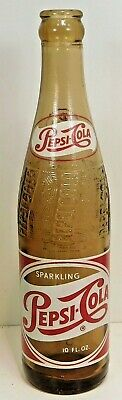 1950's AMBER ACL PAINTED LABEL SODA 10 Oz.- PEPSI-COLA  NEW YORK,N.Y.