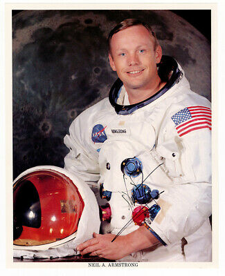 Neil Armstrong Signed White Spacesuit NASA Color Photo Uninscribed FULL JSA LOA