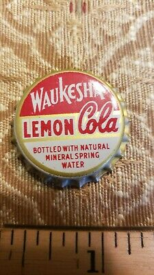 Vintage Waukesha Lemon Cola Cork Bottle Cap New Old Stock