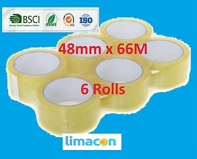 144 Rolls Clear Parcel Tape 48mm x 66M Packing parcel Packaging Box Sealing