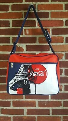 Coca-Cola messenger bag Eiffel Tower Buvez French blue red white Excellent...