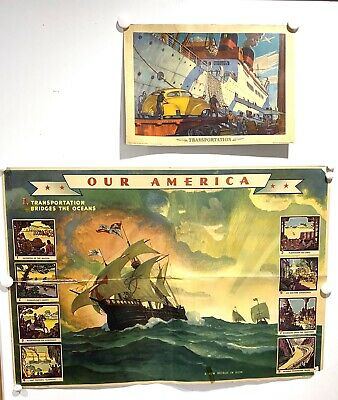 Four Vintage 1940's COCA-COLA Our America - TRANSPORTATION Educational Posters