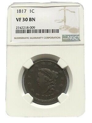 1817 Coronet Head Large Cent NGC VF30
