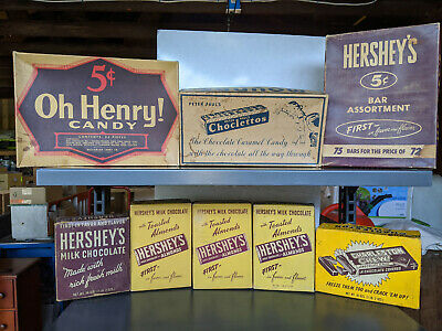 Vintage Candy Boxes - lot of 8 - Hershey, Charleston Chew, Oh Henry, Mounds Choc