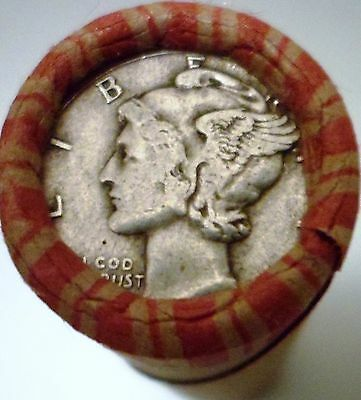 Silver Mercury Dime on the end of a 50-coin Mixed Indian / Wheat Roll 19y