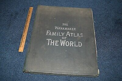 Antique 1894 Wanamaker Family Atlas of the World illustrated maps plans cities